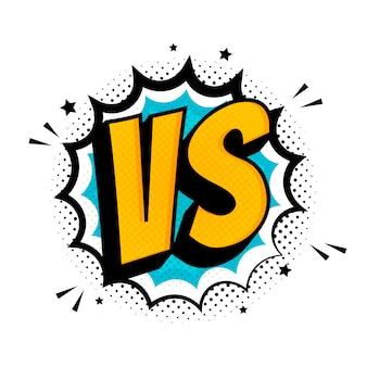 Kampf comic sprechblase mit ausdruck text vs oder versus