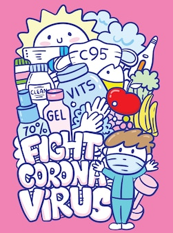 Kampf corona virus gekritzel kunst