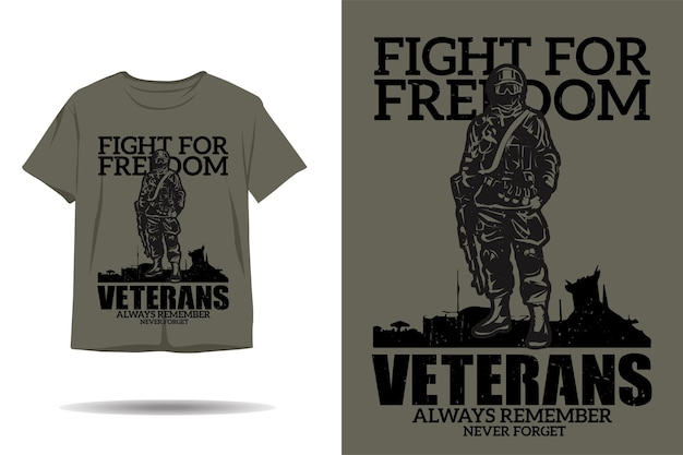 Kampf für freiheit veteran silhouette t-shirt design