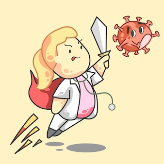 Kampf gegen corona arzt mädchen blonde cartoon vektor illustrator