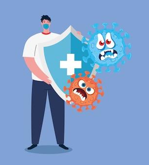 Kampf gegen coronavirus, mann mit medizinischer maske, emoji mit gesichtsausdruck und schildschutz