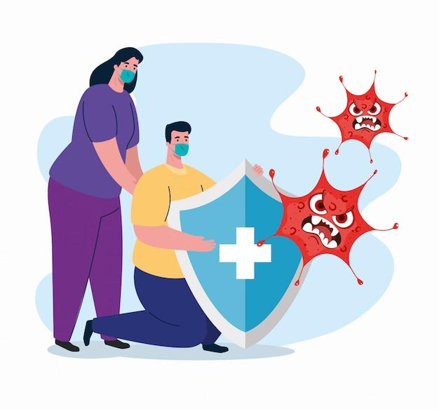 Kampf gegen coronavirus, paar mit medizinischer maske, emoji mit gesichtsausdruck und schildschutz