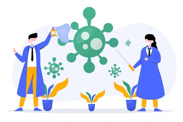 Kampf gegen das virus dargestellt