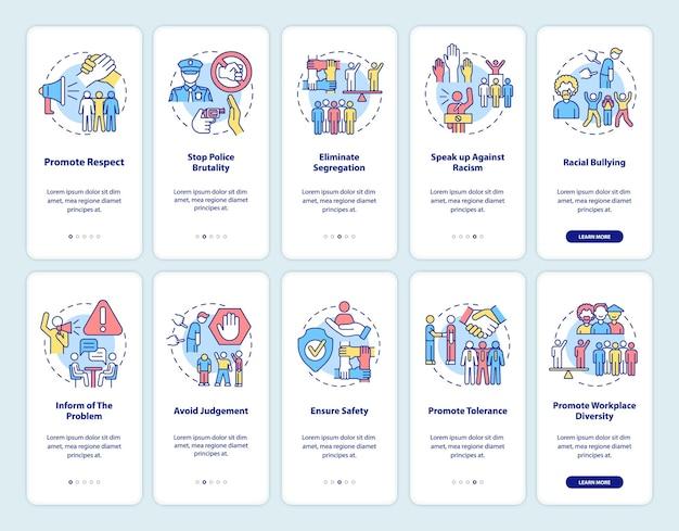 Kampf gegen rassenungerechtigkeit beim onboarding von mobilen app-seitenbildschirmen. Premium Vektoren