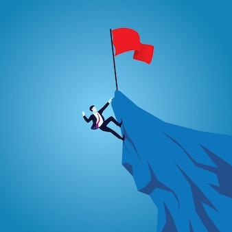 Kampf oder harte arbeit im geschäftskonzept. geschäftsleute, die berg besteigen, um erfolg zu erreichen. arbeite hart, um an der spitze zu sein