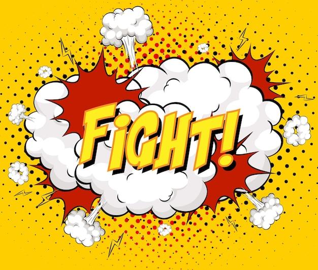 Kampf-text auf comic-wolkenexplosion auf gelbem hintergrund Kostenlosen Vektoren