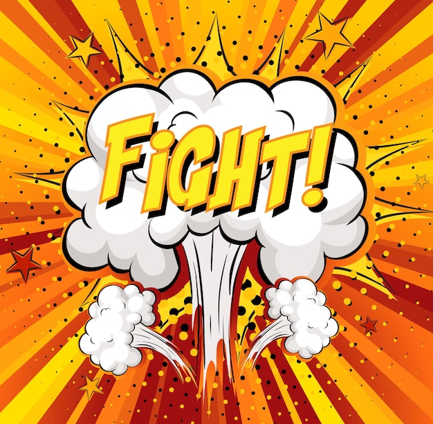 Kampf-text auf comic-wolkenexplosion auf strahlenhintergrund