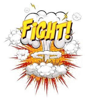 Kampf-text auf comic-wolkenexplosion isoliert auf weißem hintergrund