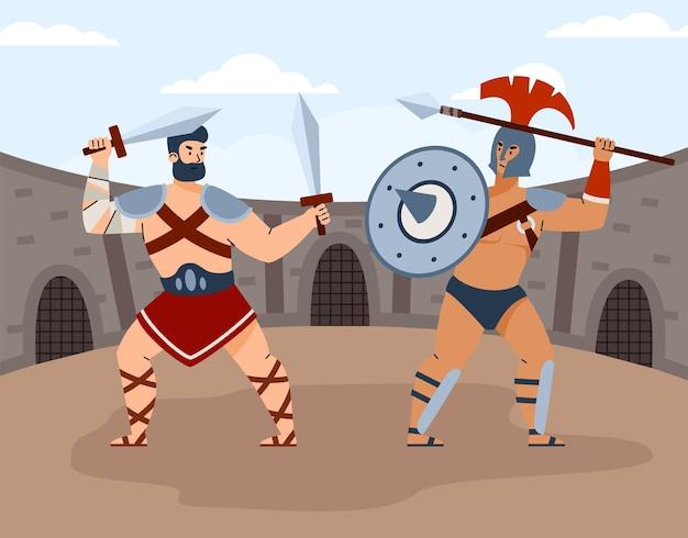 Kampf von zwei gladiatoren in der arena der kolosseumvektorkarikaturillustration Premium Vektoren