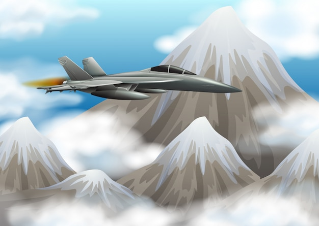 Kampfjet, der über den berg fliegt