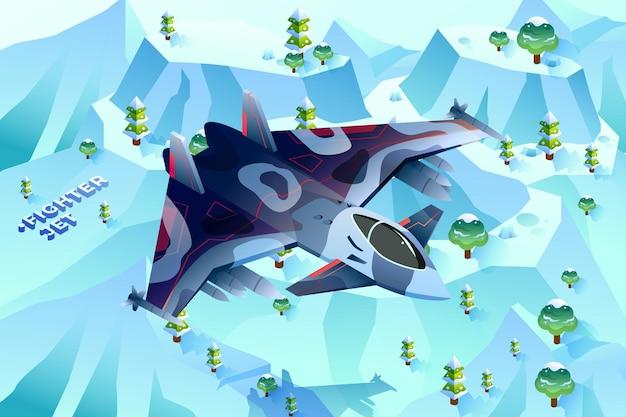 Kampfjet - isometrische illustration