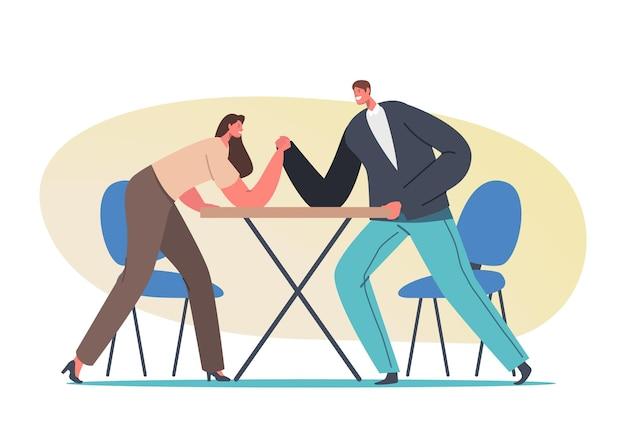 Kampfkonzept für mann und frau. männliche und weibliche charaktere armdrücken kampf, kampf um führung und gleichstellung der geschlechter im karrierewettbewerb, kraftanstrengung. cartoon-menschen-vektor-illustration