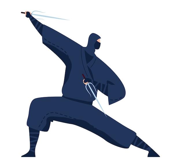 Kampfkunst, japanischer ninja, professioneller krieger in der schwarzen kimono-entwurfskarikaturartillustration, lokalisiert auf weiß. orientalischer aggressiver sport, einzelkampf üben, mann treten treten