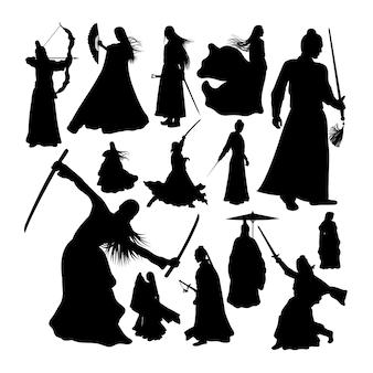 Kampfkunst-krieger-silhouetten
