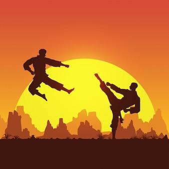 Kampfkunst, silhouette von zwei männlichen karatekämpfen,