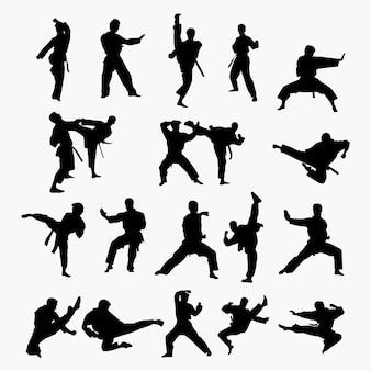 Kampfkunst-silhouetten