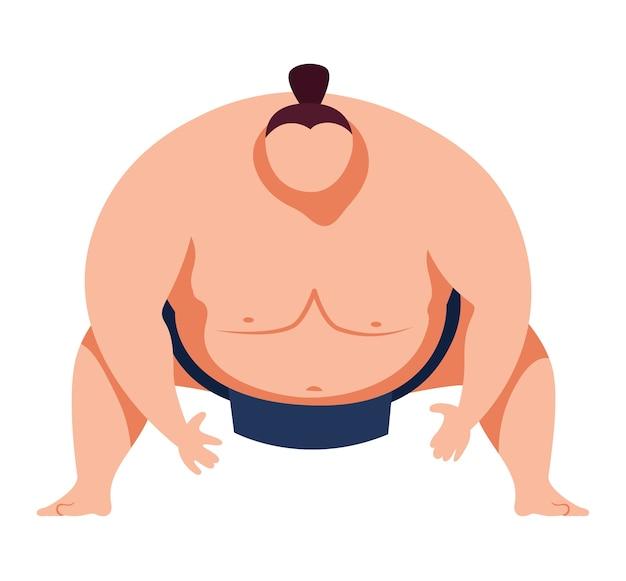 Kampfkunst, traditioneller japanischer kunstsumosport, schwere, dicke mannentwurfskarikaturartillustration, lokalisiert auf weiß. adipositas-kämpfer in kampfhaltung, großer, menschlicher, stark sitzender sumoist.