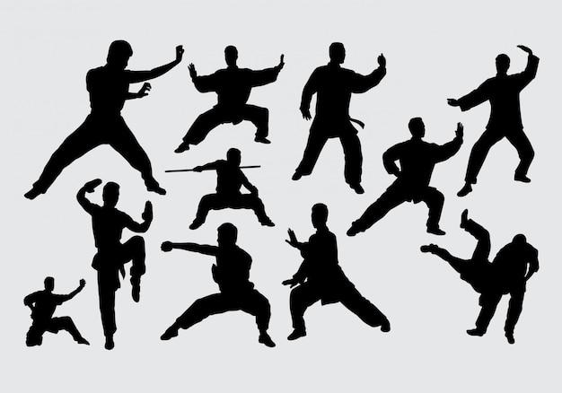 Kampfkunst und kung fu silhouette