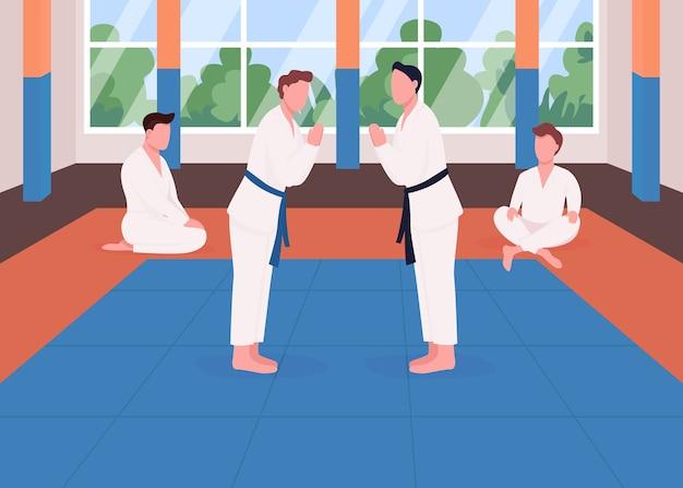 Kampfkunsttraining flache farbillustration. kung-fu-schule. taekwondo wettbewerb. athlet bereitet sich auf den kampf vor. karate studenten 2d zeichentrickfiguren mit dojo interieur auf hintergrund