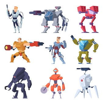 Kampfroboter. rüstungstransformatoren android schutz elektronische soldat zukünftige waffe