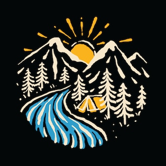 Kampieren, gebirgsnatur-fluss-illustrations-kunst-t-shirt wandernd