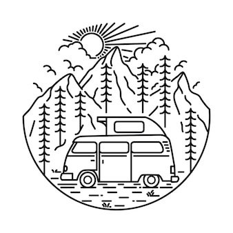 Kampieren, kletternde gebirgsnatur-illustration wandernd