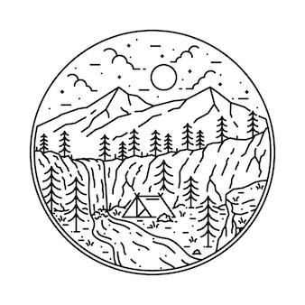 Kampieren, kletternde natur-abenteuer-grafik-illustration wandernd