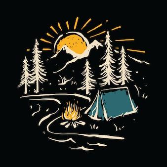 Kampieren, natur-gebirgsfluss-illustration wandernd