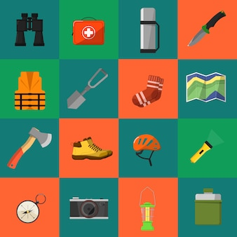 Kampierende ausrüstungssymbole und -ikonen