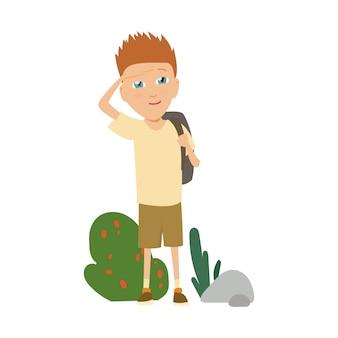 Kampierende ausstattung des pfadfinders, sommerlagertätigkeiten vector illustration.