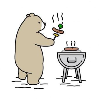 Kampierende karikatur des bärenvektors eisbärn-picknicks