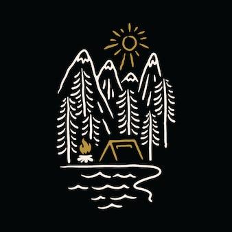 Kampierende natur-gebirgssee-illustration