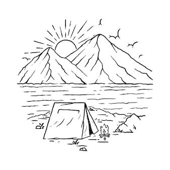 Kampierende strand-natur-gebirgsillustration