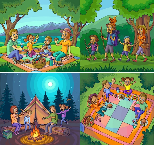 Kampierender glücklicher familienferien-wanderungs-picknicksatz.