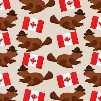 Kanada flagge und biber mit hut vektor-illustration