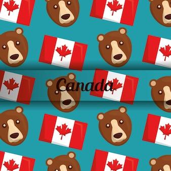 Kanada-flagge und nationaler symbolhintergrund des bären