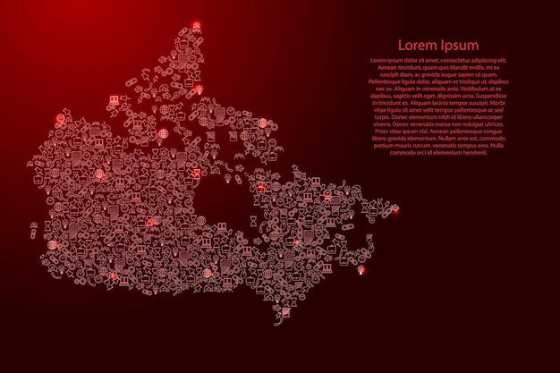 Kanada-karte aus roten und leuchtenden sternensymbolen mustersatz von seo-analysekonzept oder -entwicklung, geschäft. vektor-illustration.