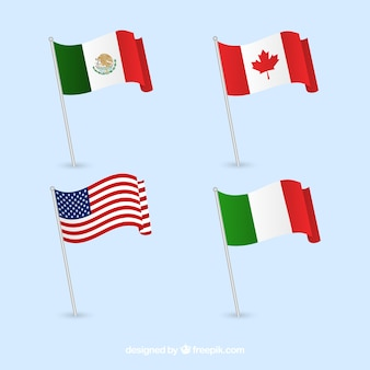 Kanada, mexiko, italien und usa flags