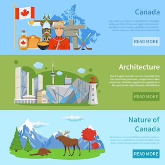 Kanada-reiseinformationen 3 flache banner