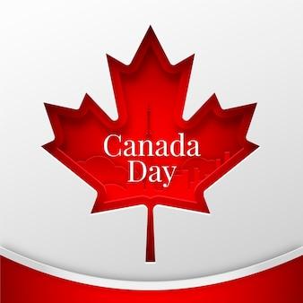 Kanada-tagesillustration im papierstil