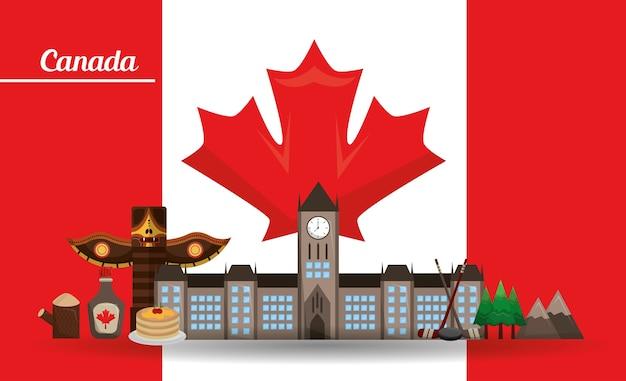 Kanada traditonal denkmal flagge berge ahornsirup totem