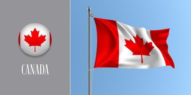 Kanada winkende flagge auf fahnenmast und rundem symbol, modell der streifen und ahornblatt der kanadischen flagge und des kreisknopfes