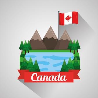 Kanadische flagge berge see landschaft natürlich