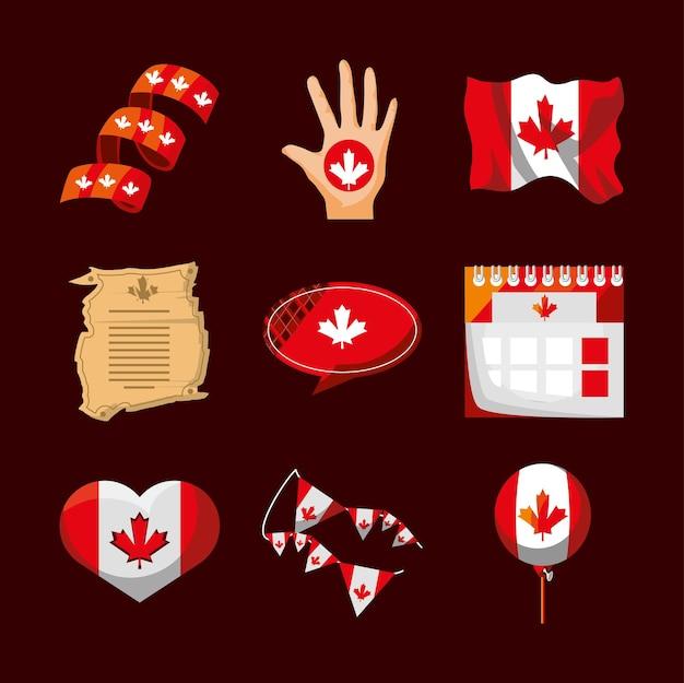 Kanadische flagge herz kalender pergament