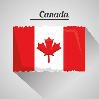 Kanadische grunge flagge national mit schatten