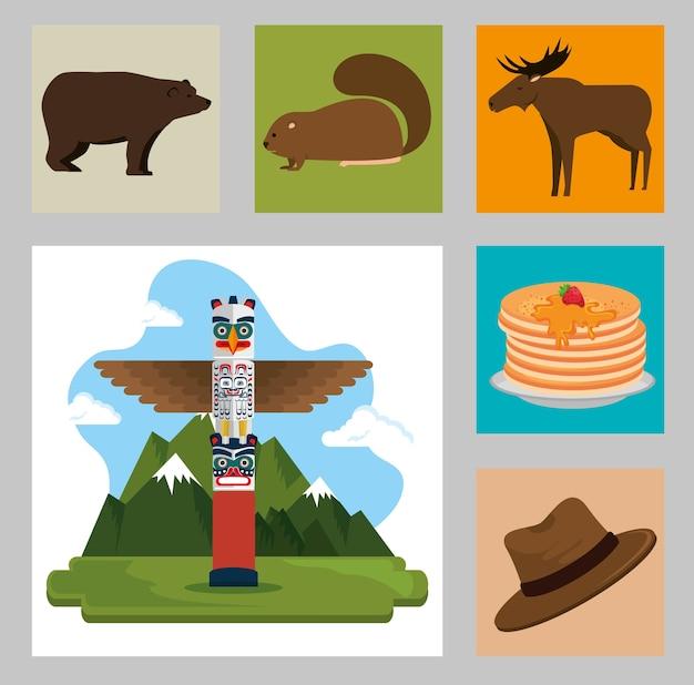 Kanadische kultur gesetzt icons vektor-illustration design