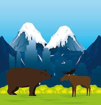 Kanadische landschaft mit elch und grizzlybär
