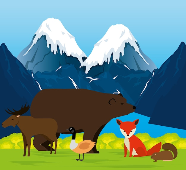 Kanadische landschaft mit tieren gruppenszene