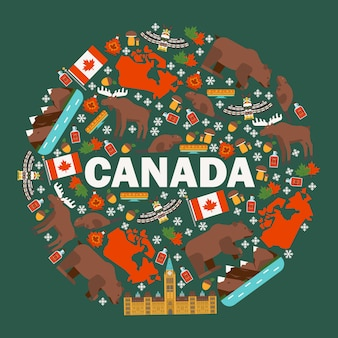 Kanadische symbole und hauptsehenswürdigkeiten