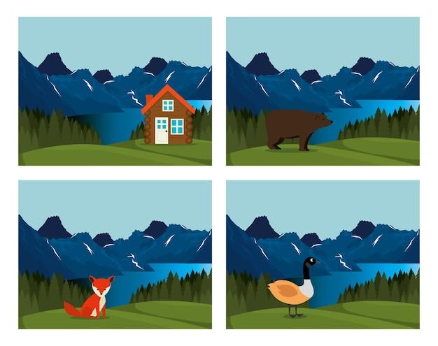 Kanadisches landschaftsszenenikonen-vektorillustrationsdesign